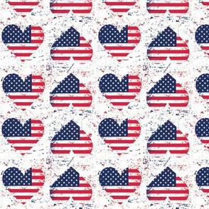 American Flag Hearts Grunge