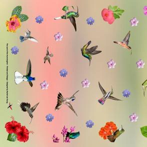 Hummers and flowers-croton 2019 single tea towel print