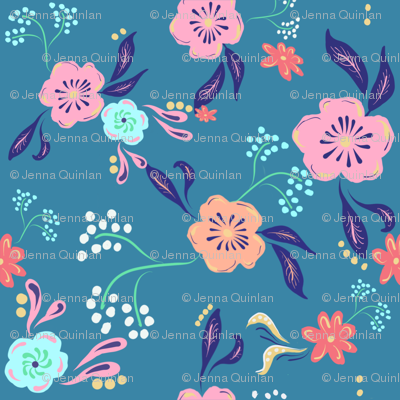 Eclectic Florals-Blue