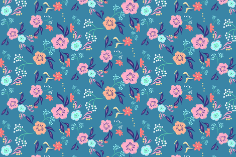 Eclectic Florals-Blue fabric by jtof on Spoonflower - custom fabric