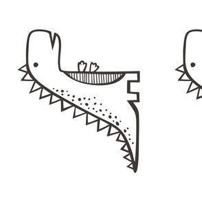 T. Rex  Dinosaur Black & White Pillow Plush Plushie Softie Cut & Sew