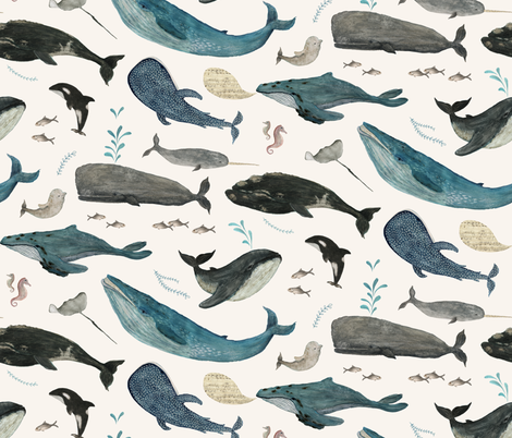 Whale song  blue {large} fabric by katherine_quinn on Spoonflower - custom fabric