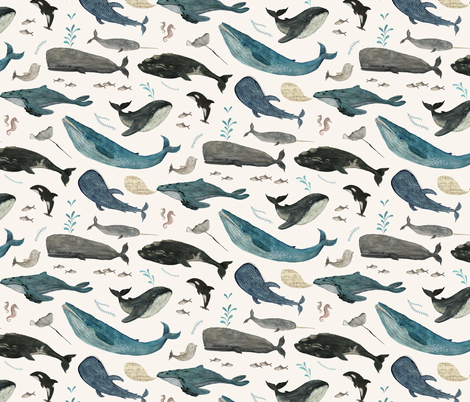 Whale's song  blue {small} fabric by katherine_quinn on Spoonflower - custom fabric