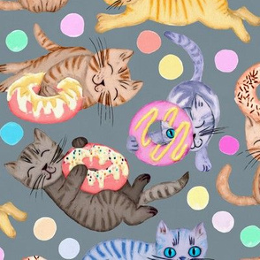 Sprinkles on Donuts and Whiskers on Kittens blue grey background - large