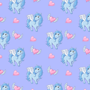 Seamless pattern with unicorns, donuts rainbow, confetti and other elements.
