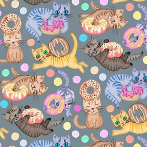 Sprinkles on Donuts and Whiskers on Kittens blue grey background - small