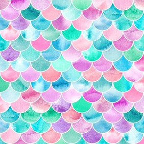 Simple Watercolor Fishscale Pattern