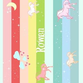 Unicorn Rainbow  Sparkle VERTICAL - LARGE105 PERSONALIZED for Rowan