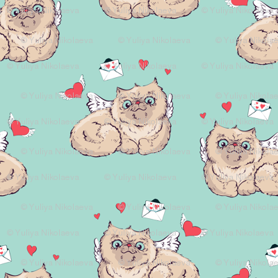 Seamless pattern background Angel cat  illustration graphics.