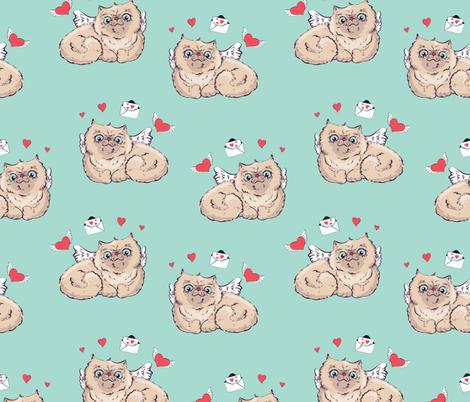 Seamless pattern background Angel cat  illustration graphics. fabric by yuliya_art on Spoonflower - custom fabric