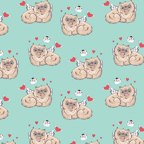 Seamless pattern background Angel cat  illustration graphics.