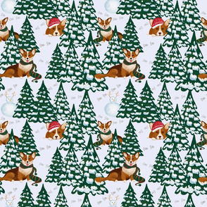 Corgis in the Winter Snow Forest - White Small