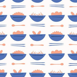 Asian Food Soup Bowl Vector Pattern