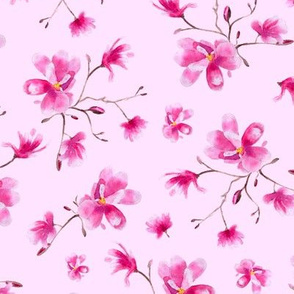 watercolor magnolia pattern on pink
