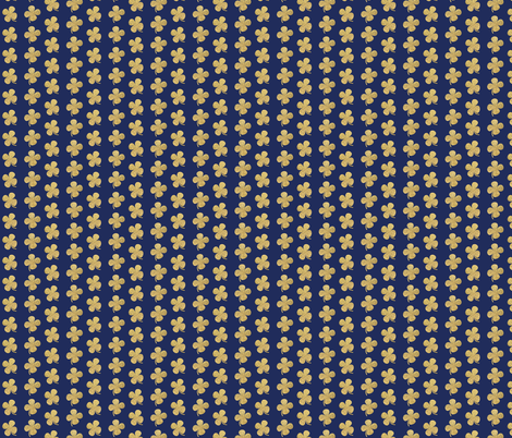 gold four leaf clover on navy Luck of the irish notre dame fighting irish fabric by jenlats on Spoonflower - custom fabric