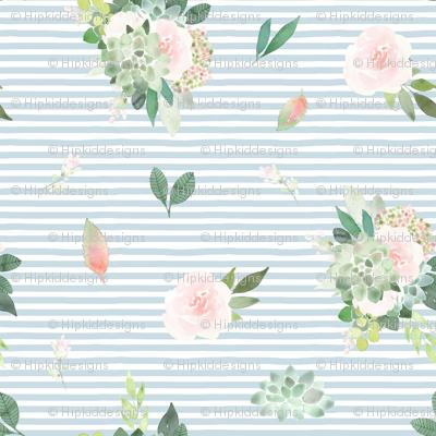 "12"" Pink Succulent Blooms // Light Blue Stripes"
