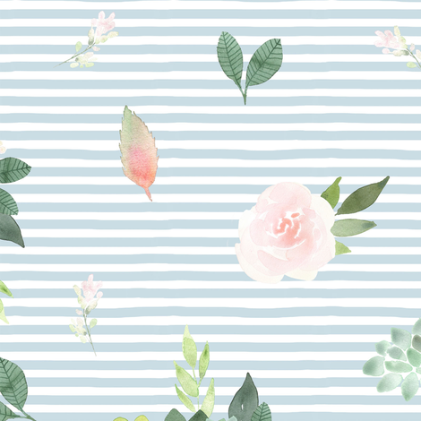 """12"""" Pink Succulent Blooms // Light Blue Stripes fabric by hipkiddesigns on Spoonflower - custom fabric"""
