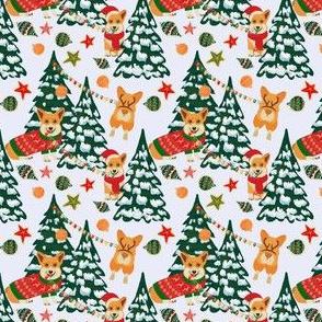 Corgis decorate the Christmas tree - Small White