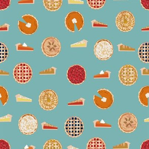 pie fabric - pies, pie, food, baking, baker, cooking, thankful, thanksgiving - blue