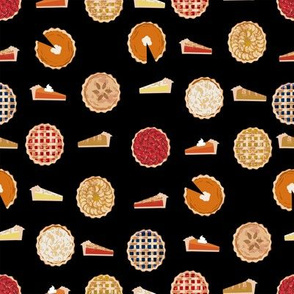pie fabric - pies, pie, food, baking, baker, cooking, thankful, thanksgiving - black
