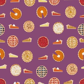 pie fabric - pies, pie, food, baking, baker, cooking, thankful, thanksgiving - purple