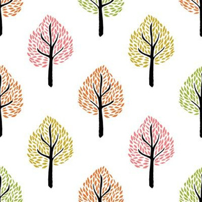 linocut tree // linocut, natural, nature, woodland, forest, fall, autumn, - white