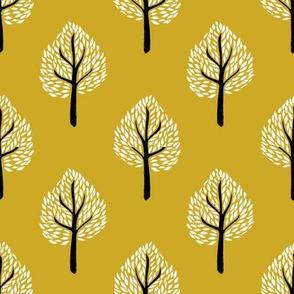 linocut tree // linocut, natural, nature, woodland, forest, fall, autumn, - mustard