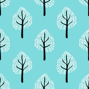 linocut tree // linocut, natural, nature, woodland, forest, fall, autumn, - ice blue