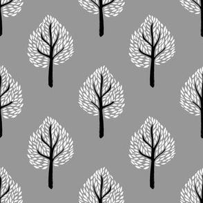 linocut tree // linocut, natural, nature, woodland, forest, fall, autumn, - grey