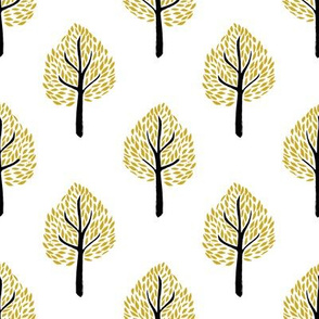 linocut tree // linocut, natural, nature, woodland, forest, fall, autumn, - white and yellow