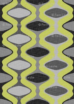 60s Ogee Stripe - Gray, Lime