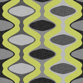 60s Ogee Stripe - Gray, Lime