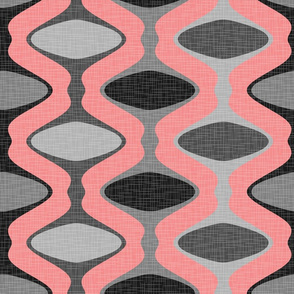 60s Ogee Stripe - Gray, Pink