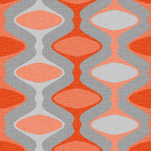 60s Ogee Stripe - Orange, Gray
