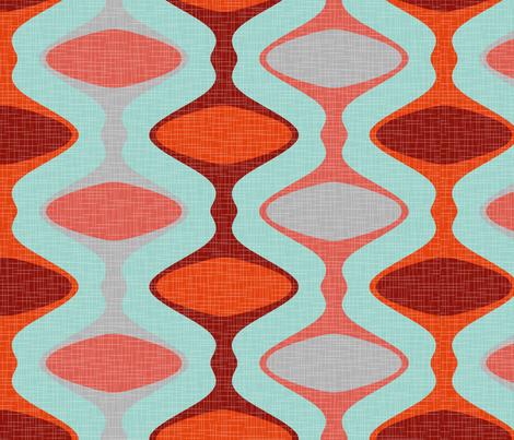 60s Ogee Stripe - Red, Aqua fabric by fernlesliestudio on Spoonflower - custom fabric