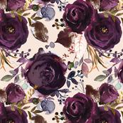 "12"" Boho Plum Roses"