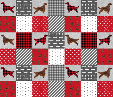 irish setter dog quilt a - buffalo plaid, dog, dog print, wholecloth cheater quilt - red fabric by petfriendly on Spoonflower - custom fabric
