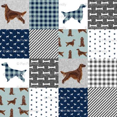 irish setter dog quilt b- buffalo plaid, dog, dog print, wholecloth cheater quilt -  navy