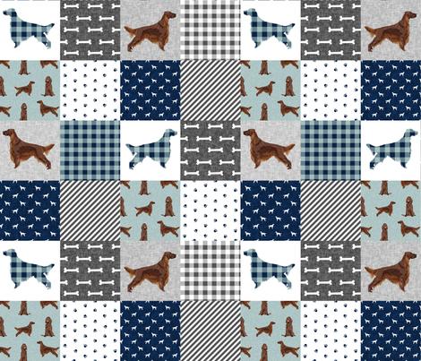 irish setter dog quilt b- buffalo plaid, dog, dog print, wholecloth cheater quilt -  navy fabric by petfriendly on Spoonflower - custom fabric