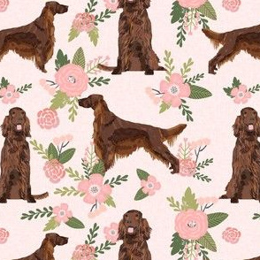 irish setter dog floral print - peach florals, flower, cute dog