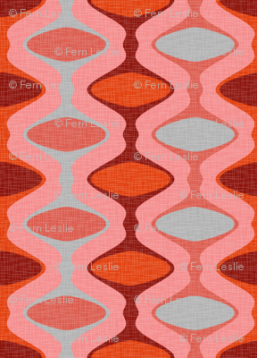 60s Ogee Stripe - Red, Gray, Pink