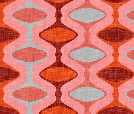 60s Ogee Stripe - Red, Gray, Pink fabric by fernlesliestudio on Spoonflower - custom fabric