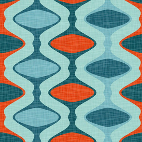 60s Ogee Stripe -  Red, Teal, Aqua