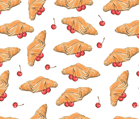 croissant_cerry_pattern fabric by yuliya_art on Spoonflower - custom fabric