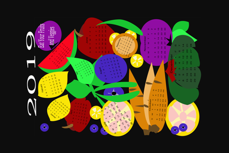 2019 Eat Your Fruits and Veggies fabric by lorloves_design on Spoonflower - custom fabric