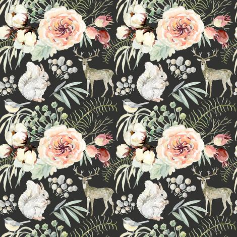 "4"" Pearl Winter Woodland // Chalk Black fabric by hipkiddesigns on Spoonflower - custom fabric"