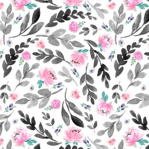 Pink Watercolor Peonies & Grey Leaves