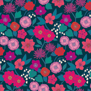 Botanical Blooms {Magenta/Teal}