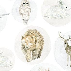"12"" Winter Woodland Animals // White"