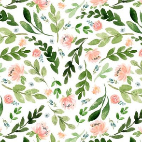 Blush Peach Watercolor Peonies & Green Leaves